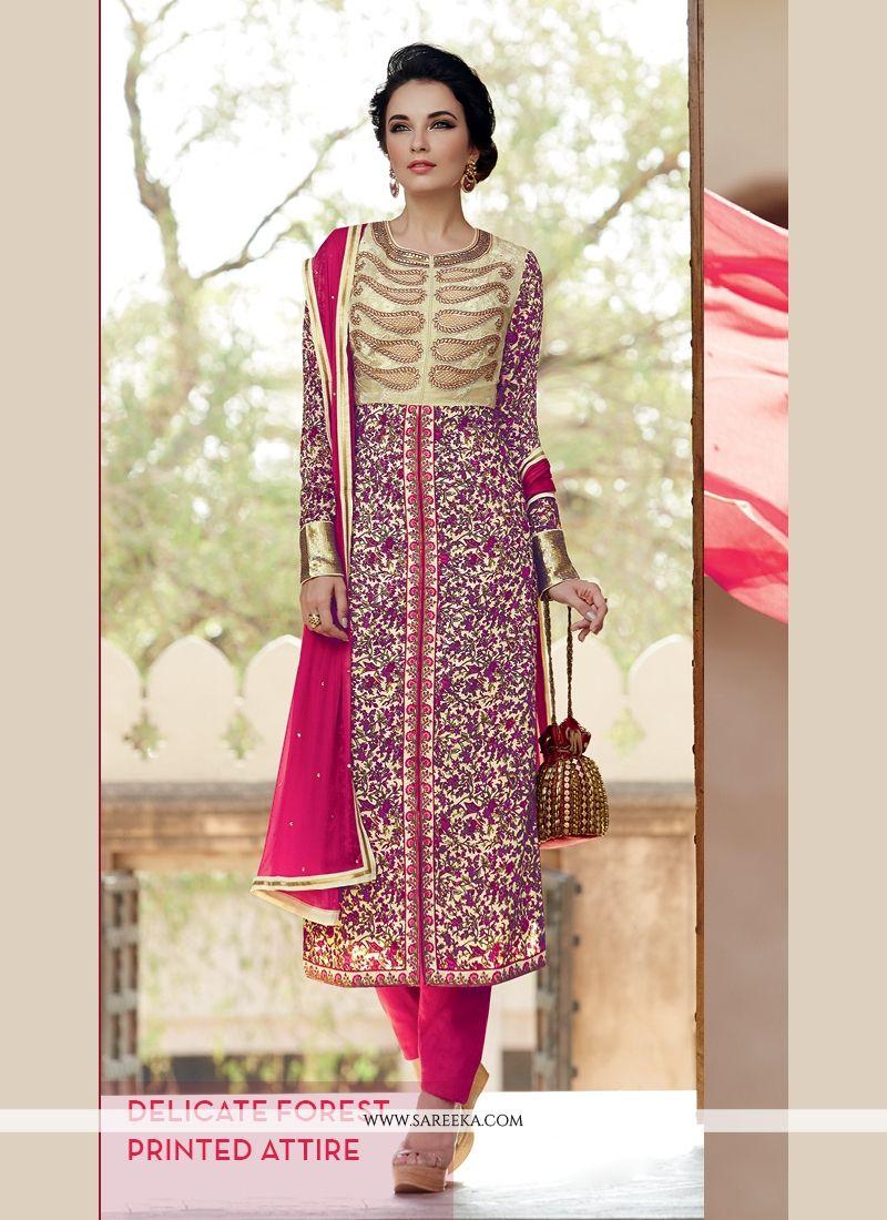 Lace Work Pure Crepe Designer Salwar Suit