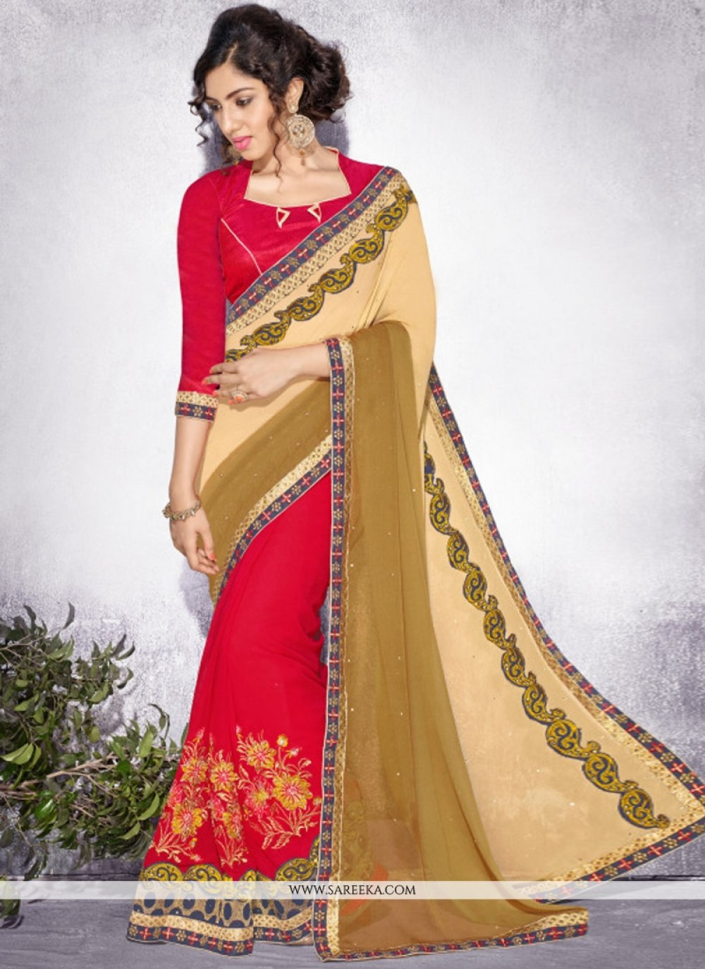 Red Lace Work Georgette Designer Saree
