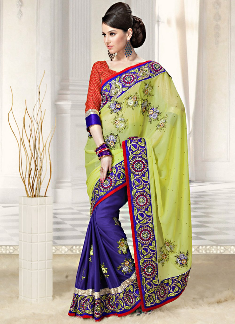 Lemon Yellow And Blue Georgette Saree