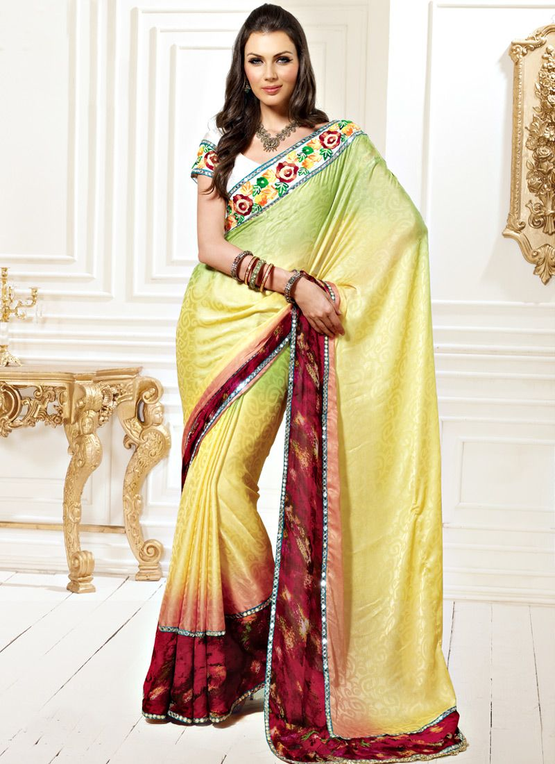 Lemon Yellow and Green Faux Chiffon Jacquard Saree