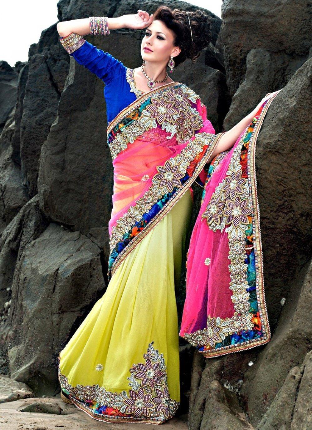 Lemon Yellow And Pink Embroidered Net Lehenga Saree