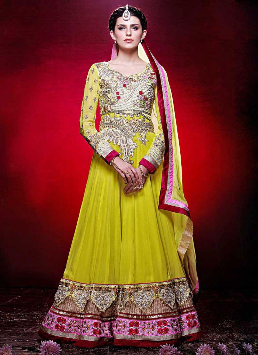 Lemon Yellow Floor Length Georgette Anarkali Suit