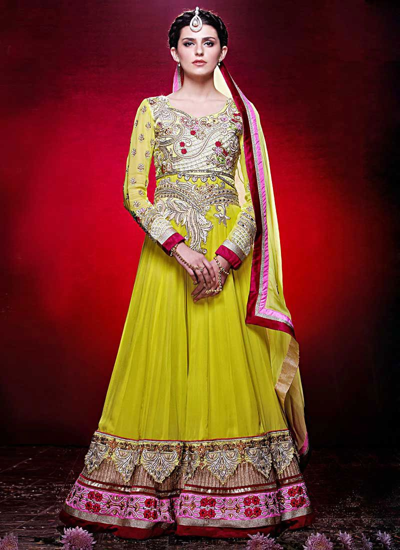 Lemon Yellow Floor Length Georgette Anarkali Suit