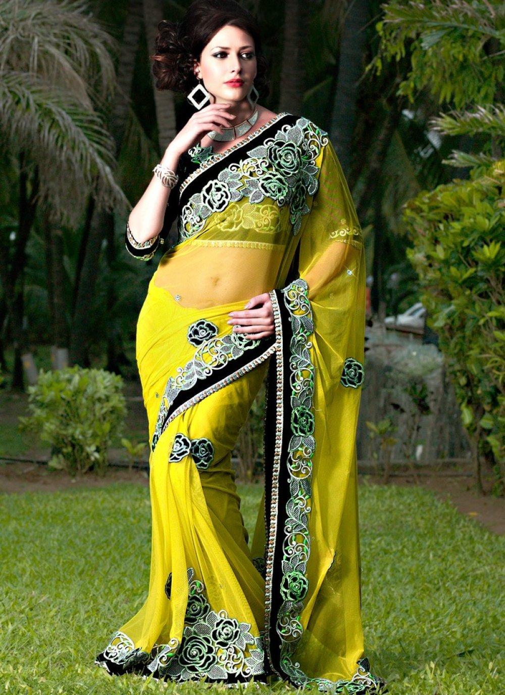 Lemon Yellow Resham Net Embroidered Wedding Saree