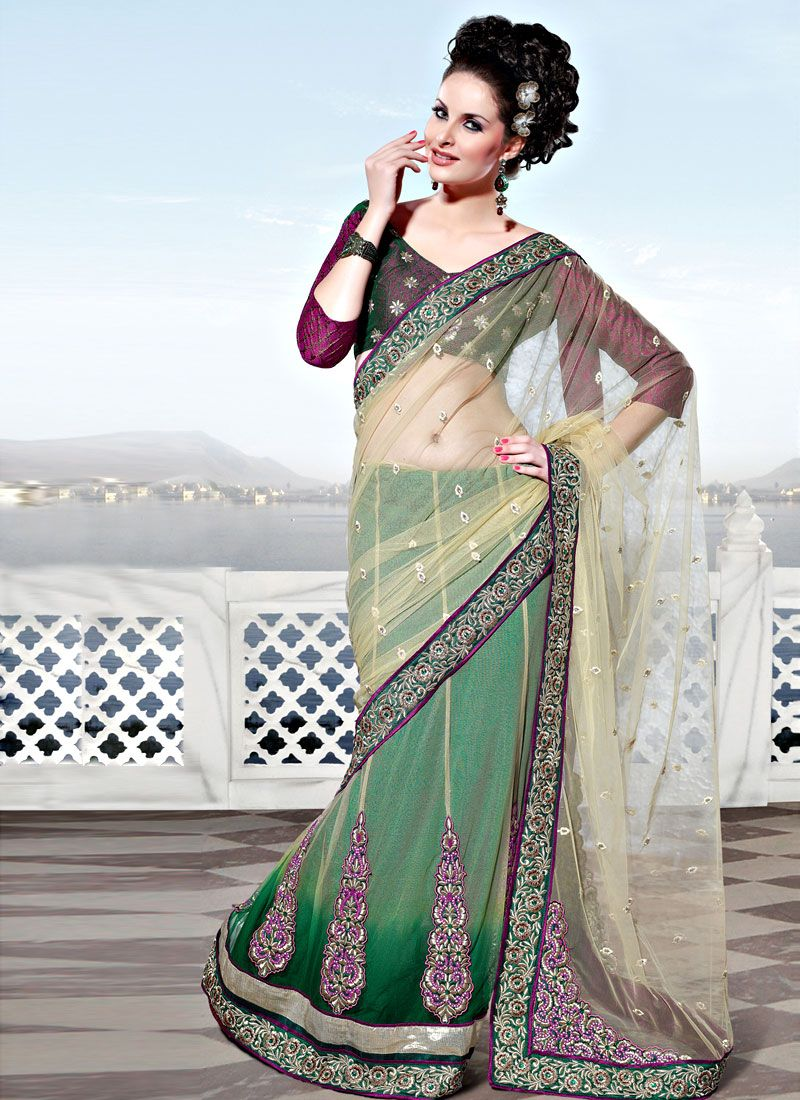Light Beige and Shaded Green Net Lehenga Saree