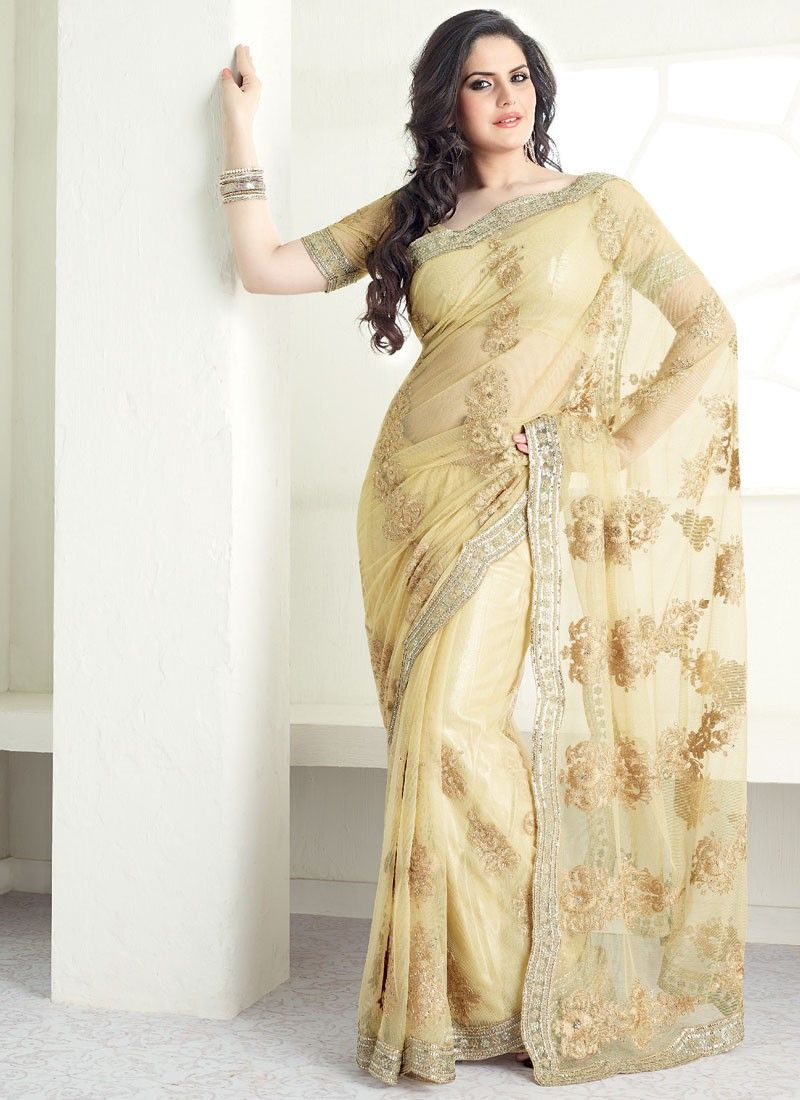Light Beige Net Saree