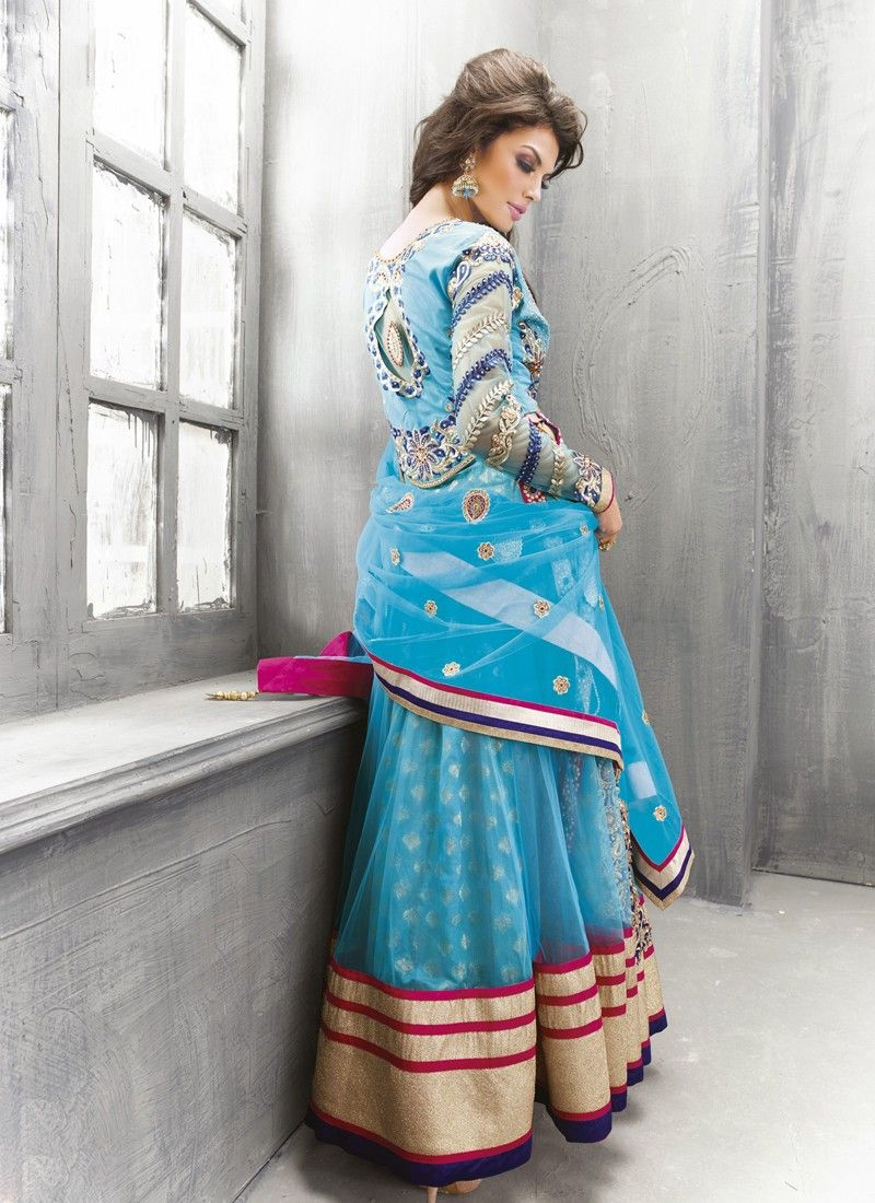 Light Blue Patch Border Work Net Anarkali Salwar Suit