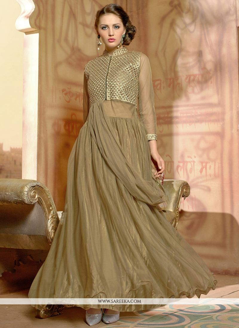 Light Brown Net Designer Gown