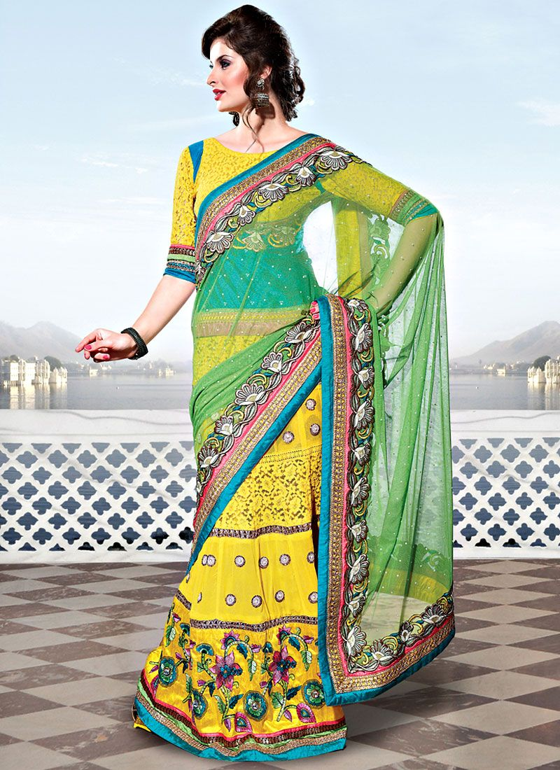 Light Green and Yellow Net Lehenga Style Saree