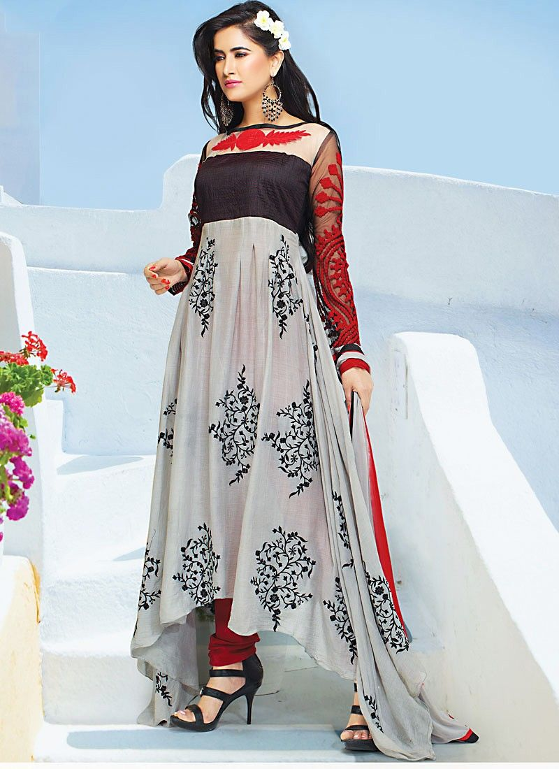 Light Grey Faux Georgette Anarkali Suit