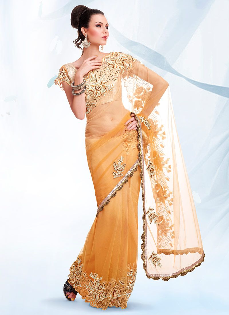 Light Orange Net Saree