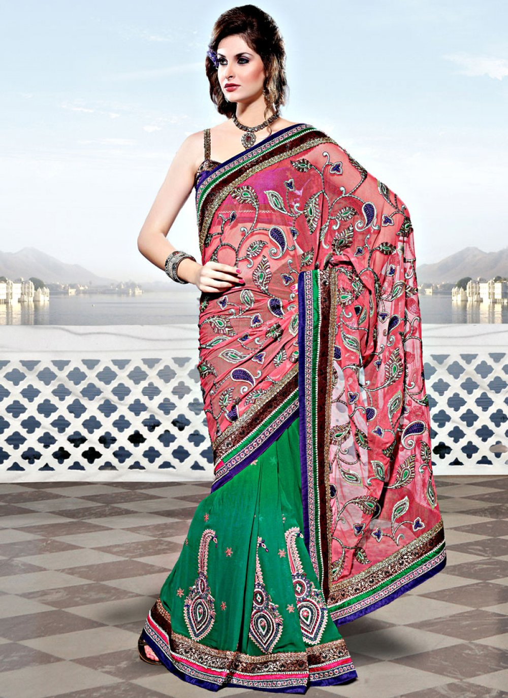 Light Peach and Green Net Georgette Saree