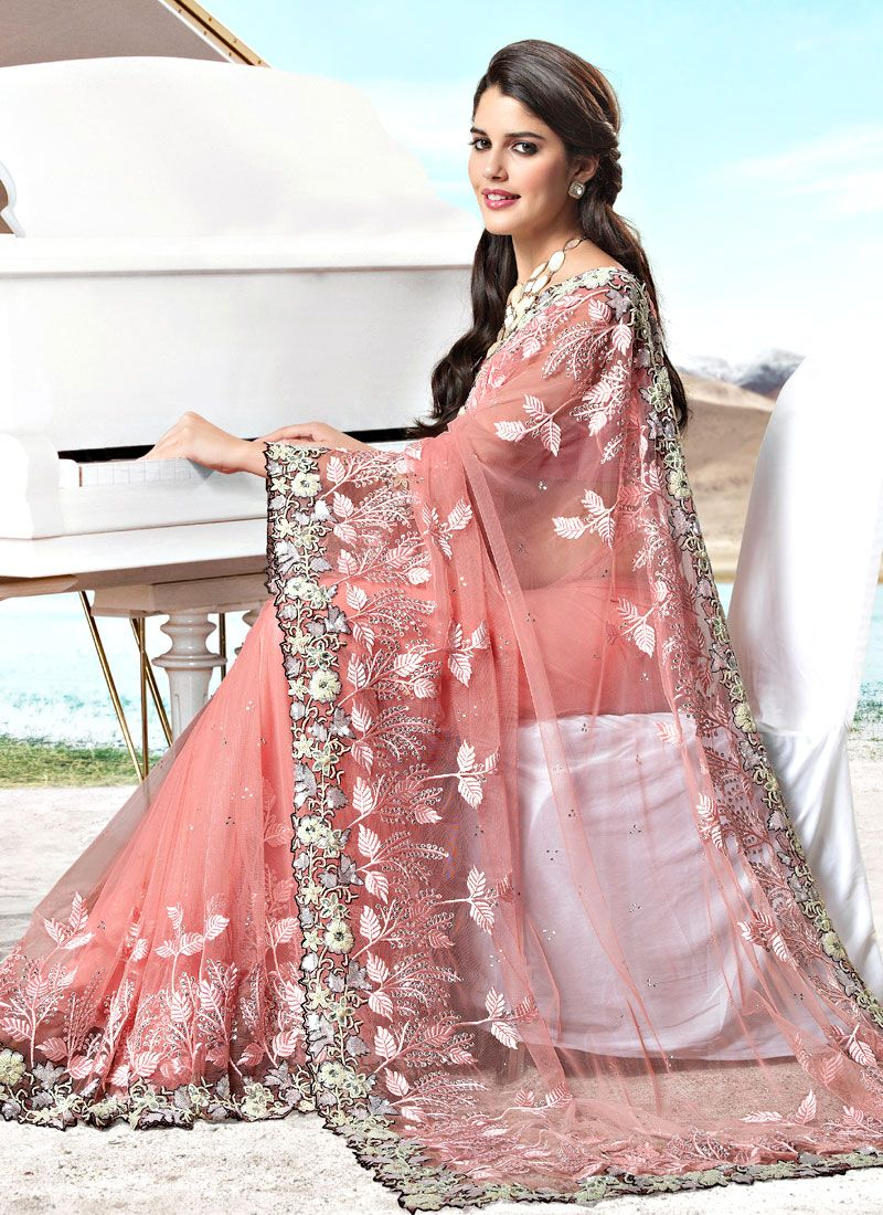 Light Peach Net Resham Work Saree