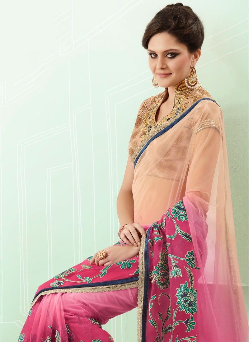 Light Pink And Beige Shaded Net Saree