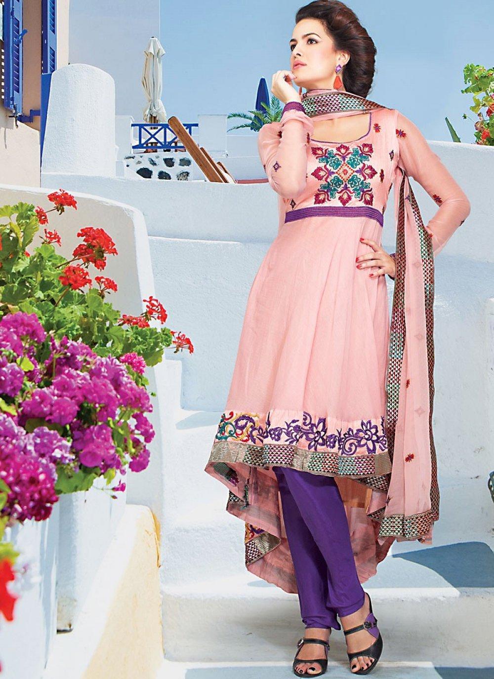 Light Pink Faux Georgette Anarkali Suit