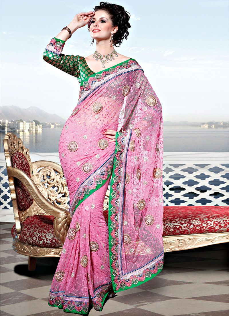 Light Pink Net Embroidered Saree