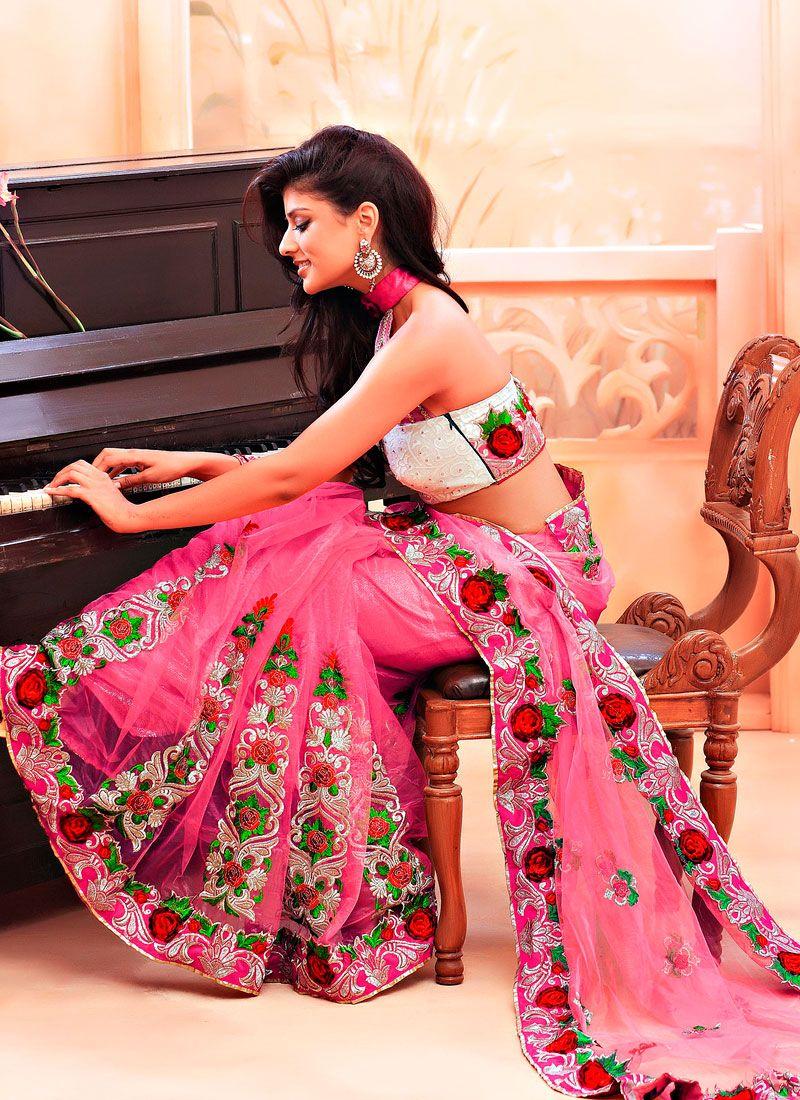 Light Pink Net Resham Enhanced Saree
