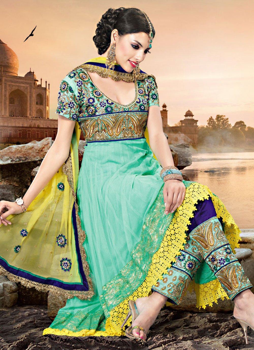 Light Sea Green Net Churidar Suit