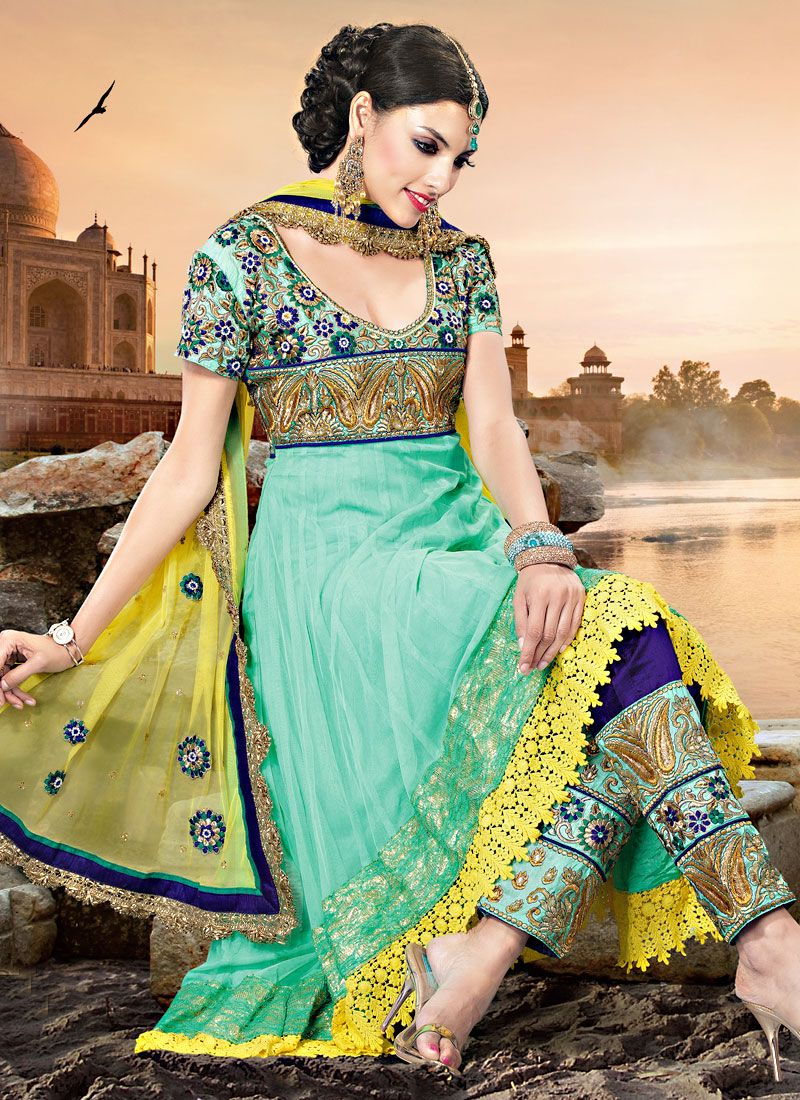 Light Sea Green Net Churidar Suit