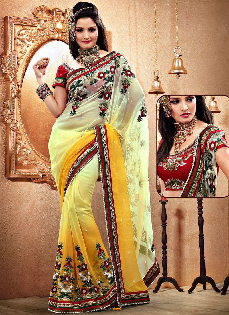 Light Yellow And Mustard Faux Georgette Saree