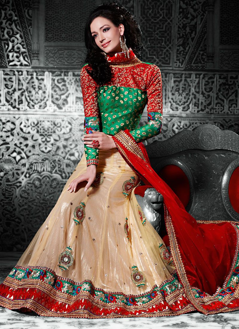 Light Yellow Net A Line Lehenga Choli