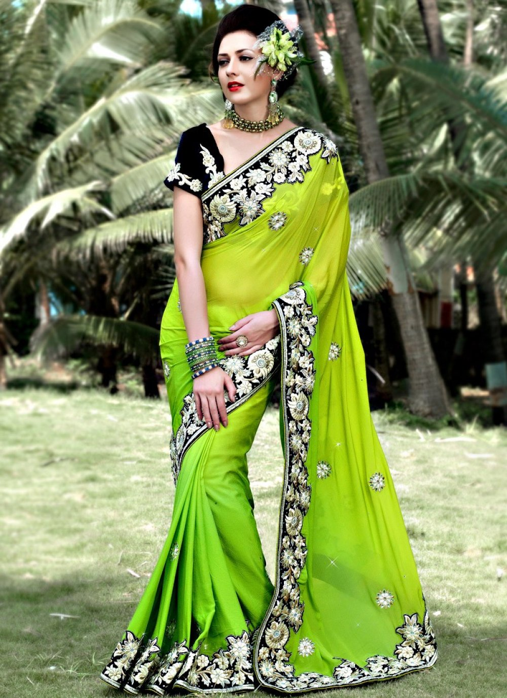 Lime Green Georgette Embroidered Wedding Saree