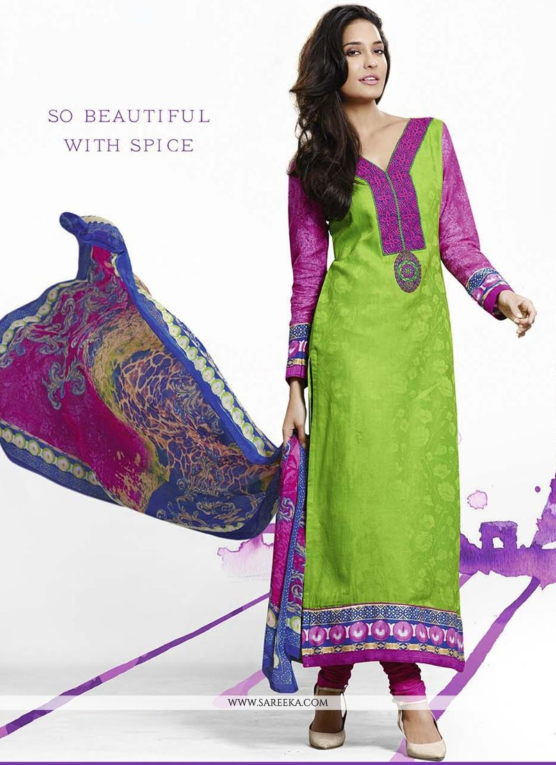 Lisa Haydon Embroidered Work Green Jacquard Designer Straight Salwar Suit