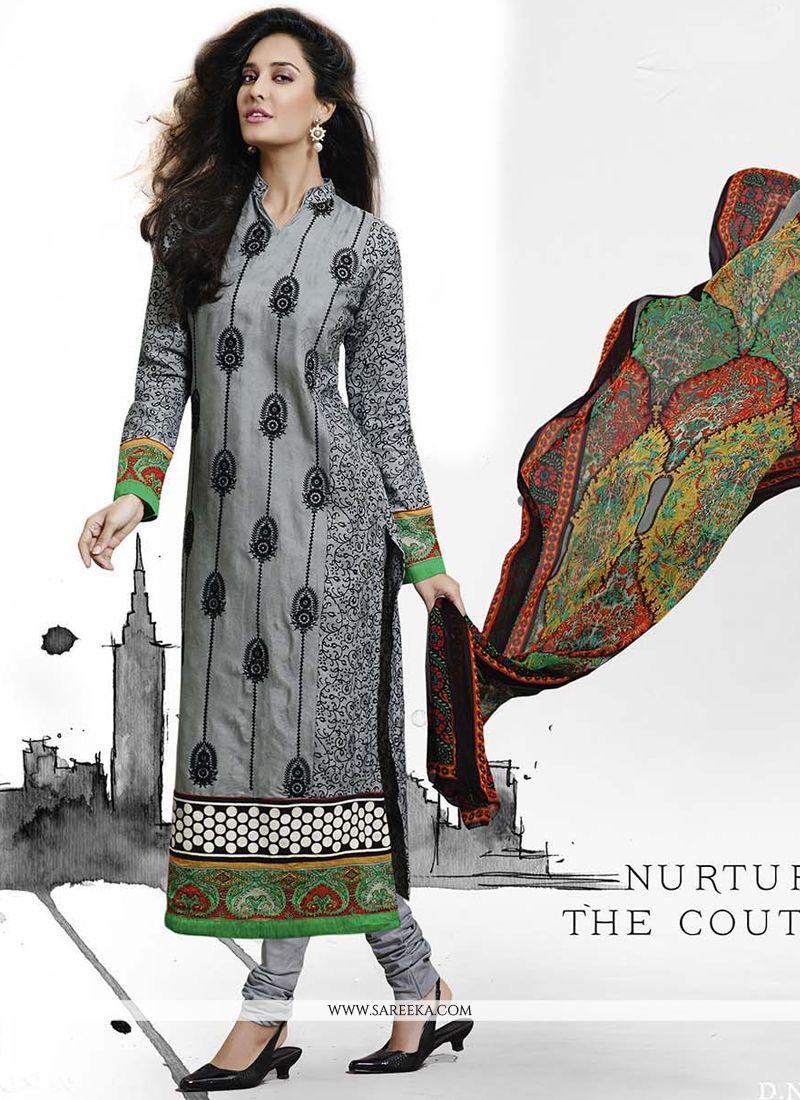 Lisa Haydon Jacquard Churidar Salwar Suit.