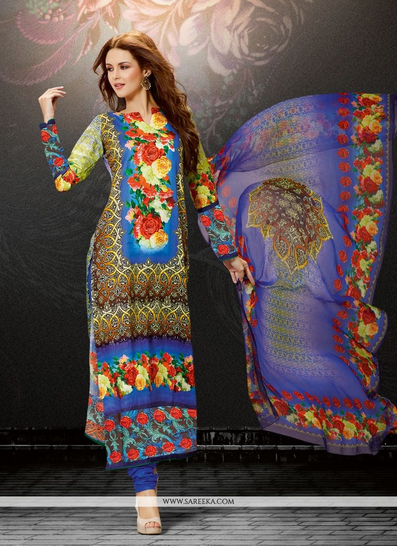 Multi Colour Digital Print Work Cotton Satin Designer Straight Salwar Suit