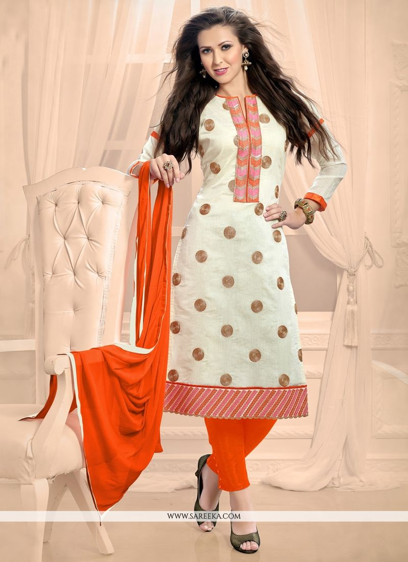 Off White Churidar Designer Suit