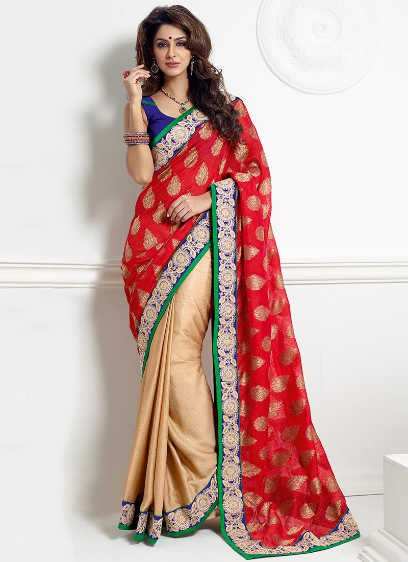 Red And Beige Viscose Half And Half Saree