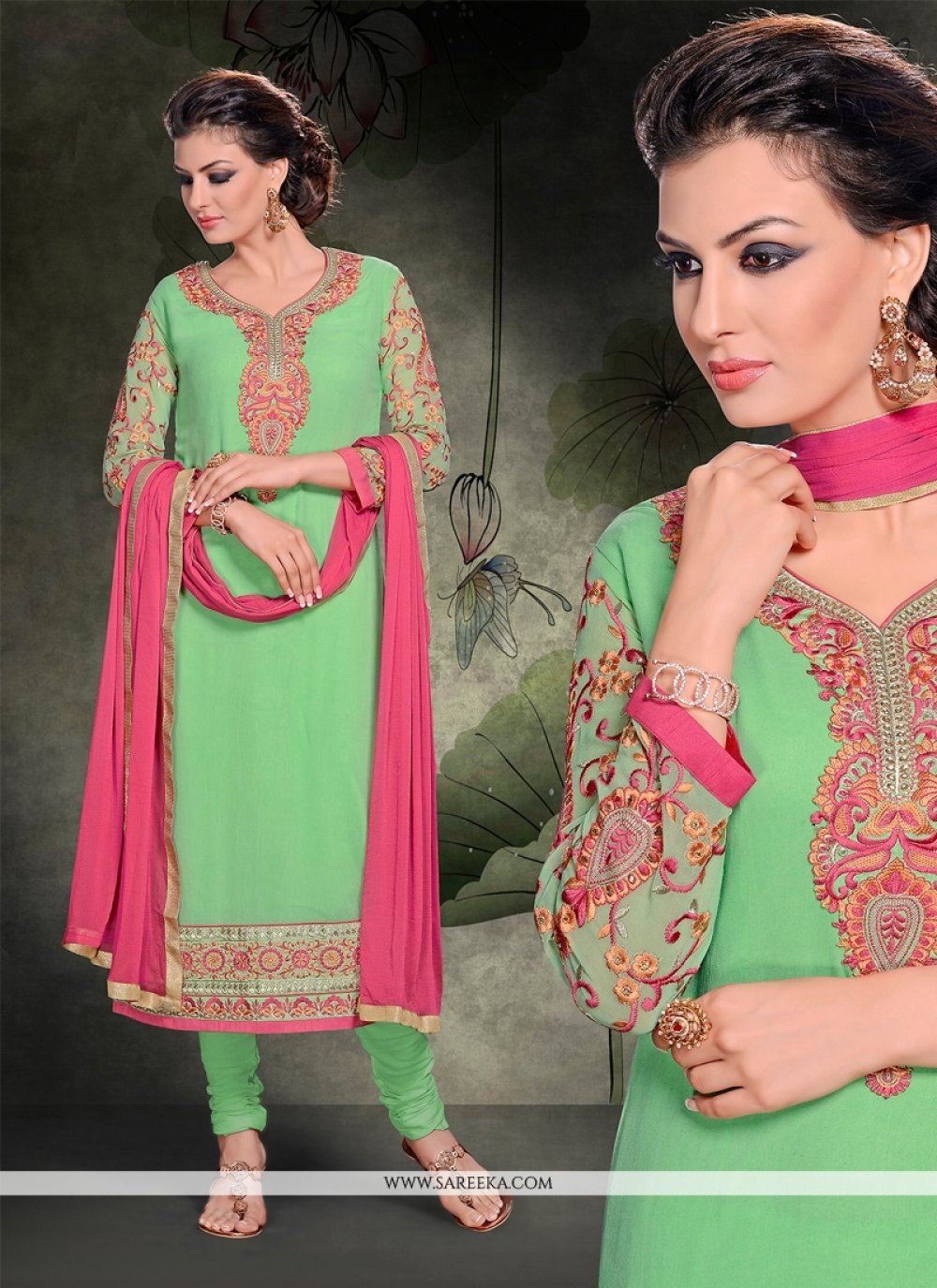 Resham Work Sea Green Churidar Salwar Kameez