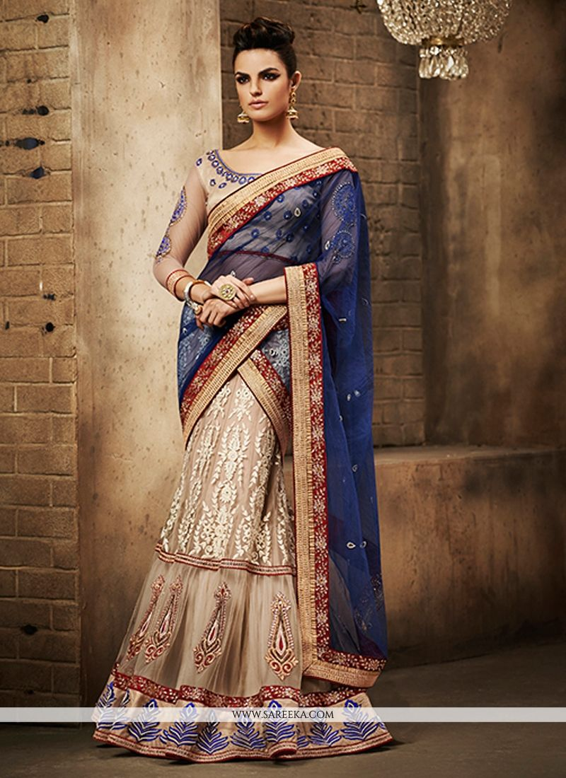 Lordly Patch Border Work Blue Net Lehenga Saree