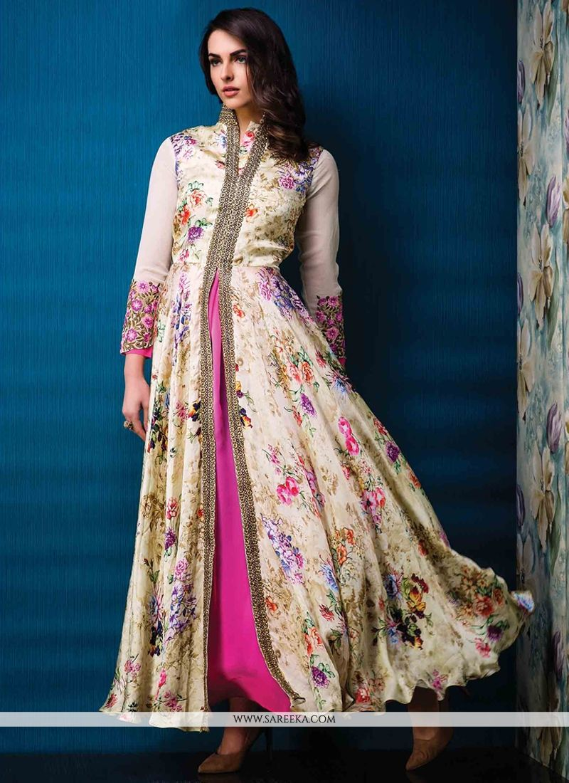 Lordly Print Work Georgette Designer Gown -