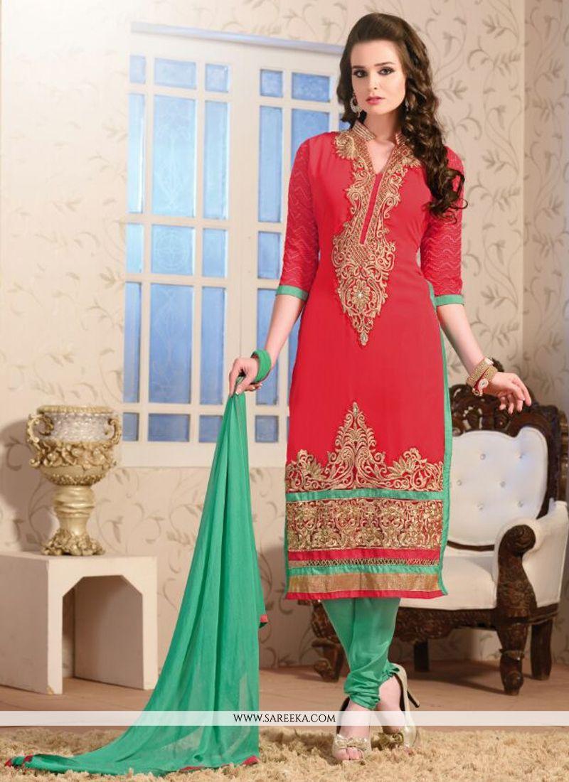 Lordly Resham Work Churidar Salwar Suit