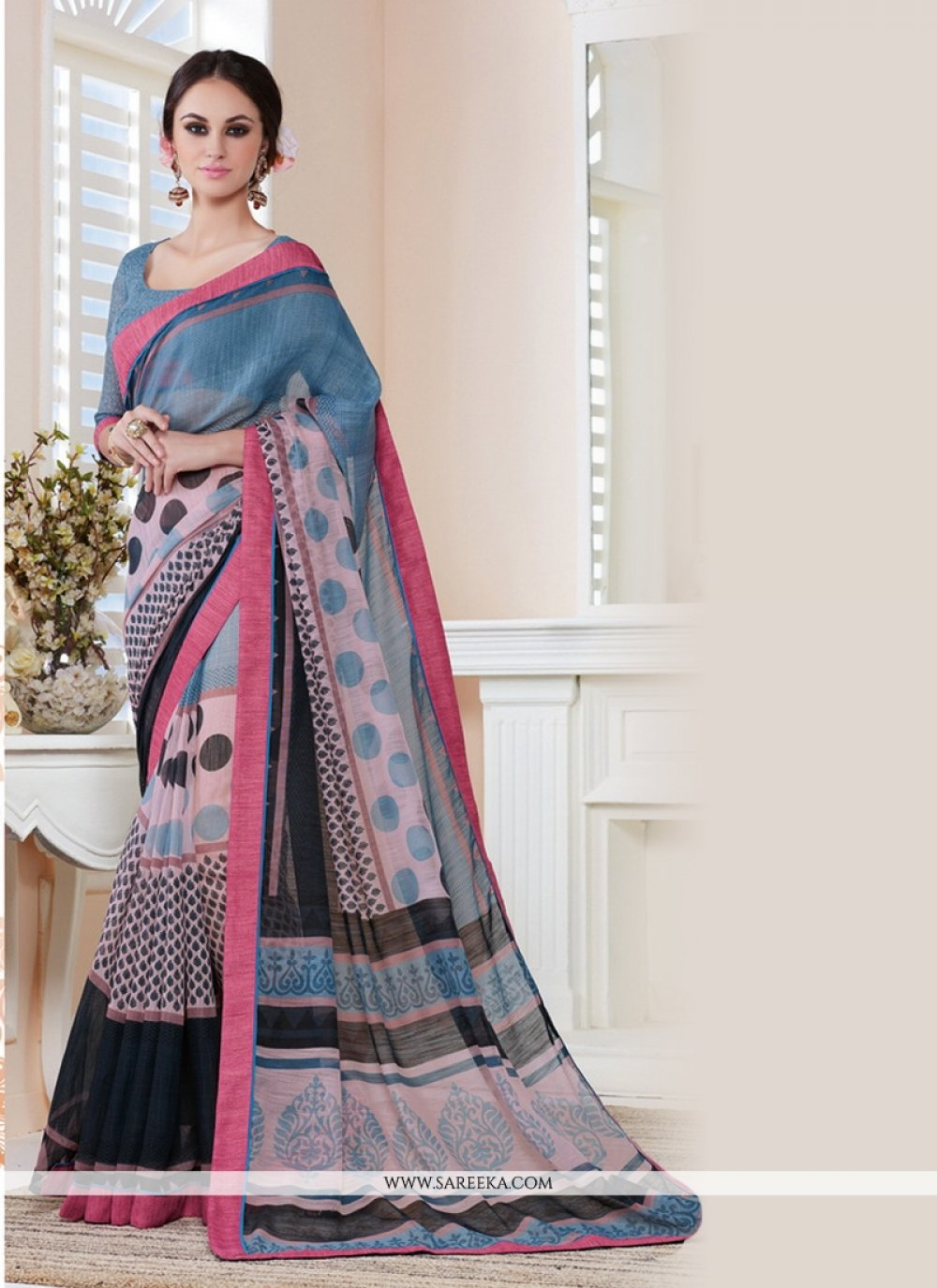 Cotton   Lace Work Casual Saree