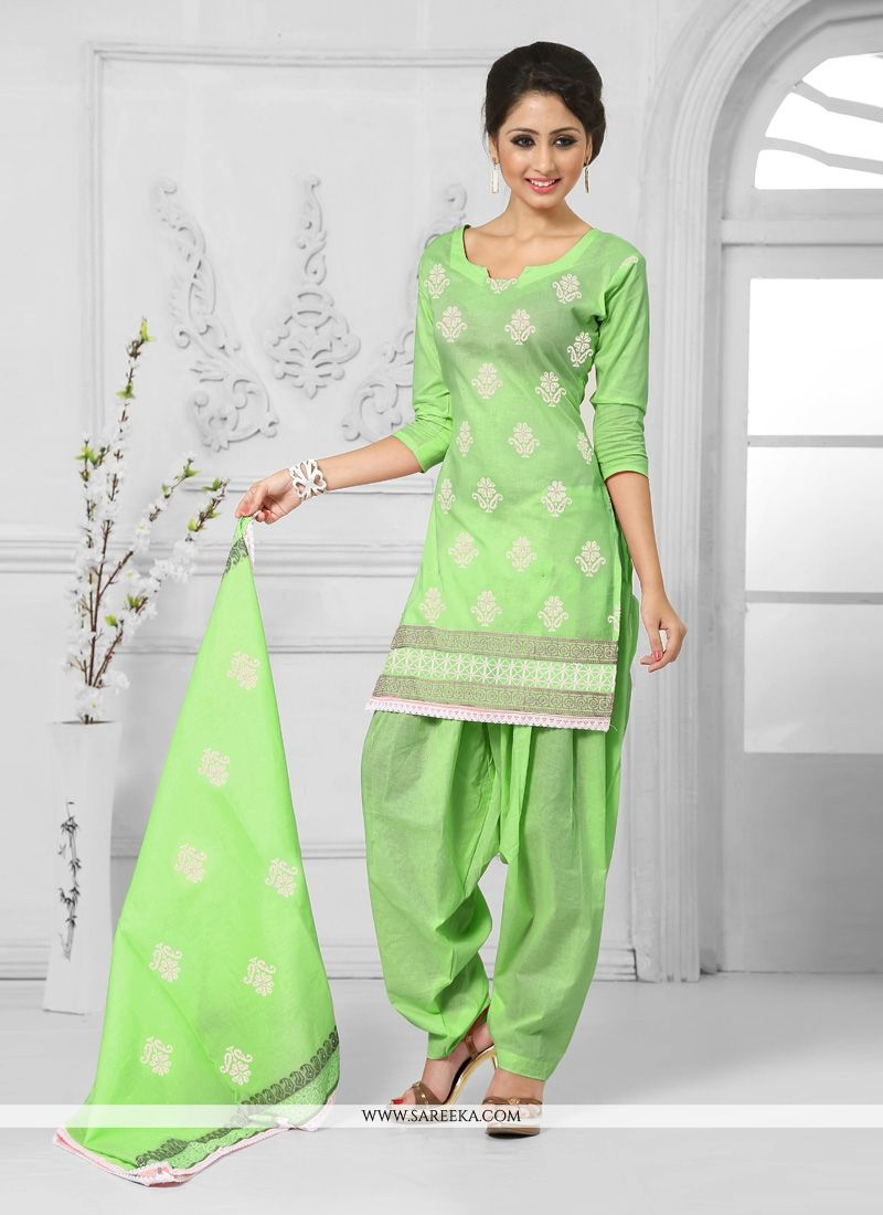 Embroidered Work Green Cotton   Designer Patiala Salwar Kameez