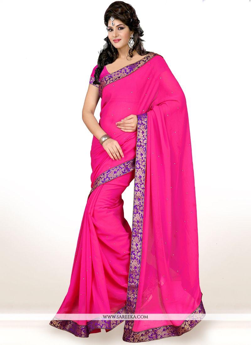 Hot Pink Lace Work Faux Chiffon Casual Saree