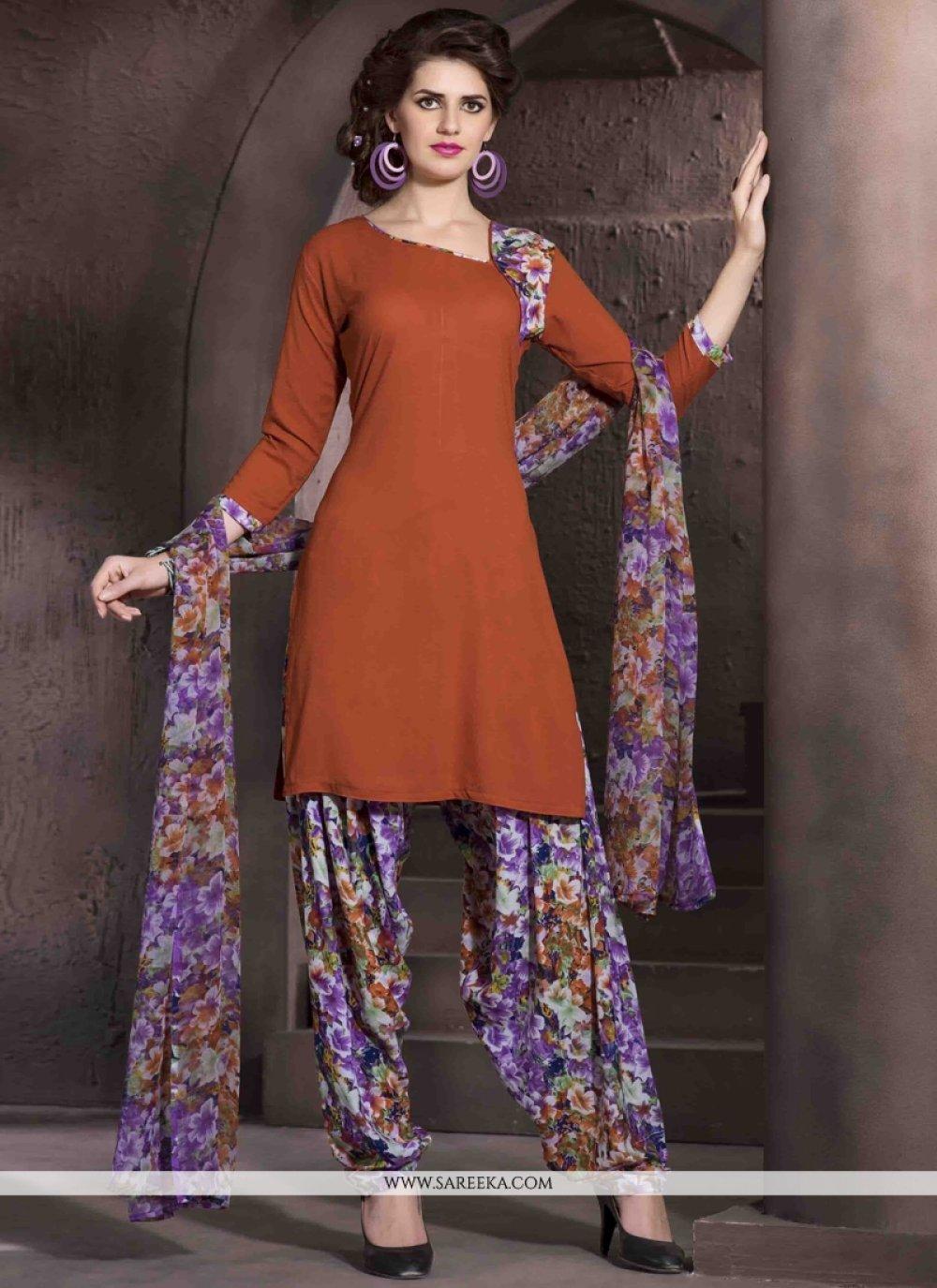 Print Work Brown Designer Patiala Salwar Kameez