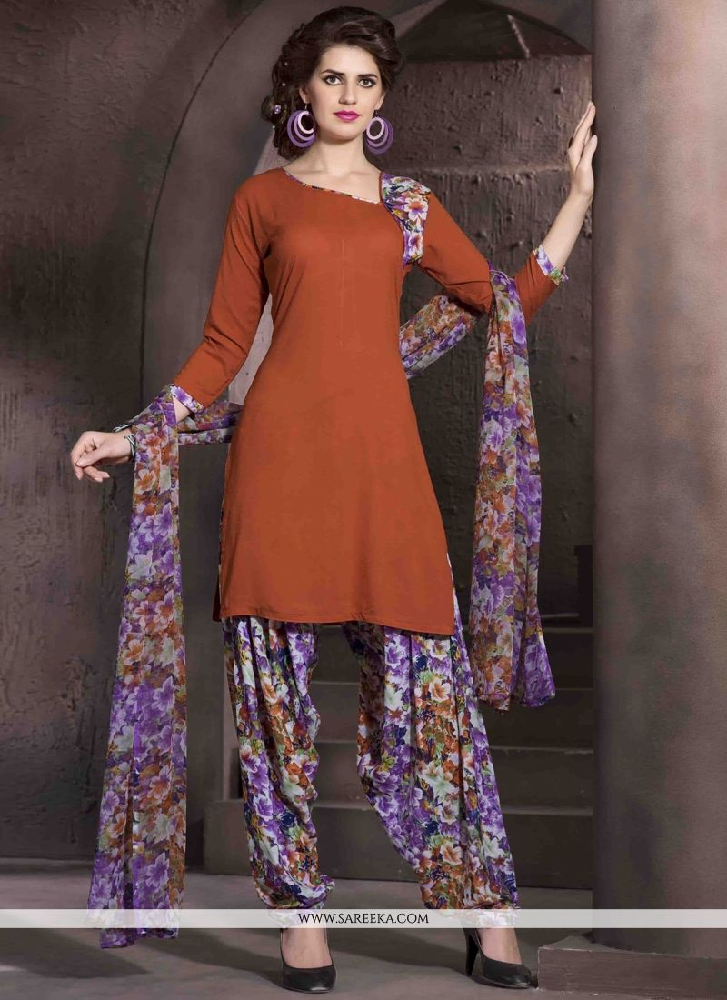 Print Work Brown Designer Patiala Salwar Kameez