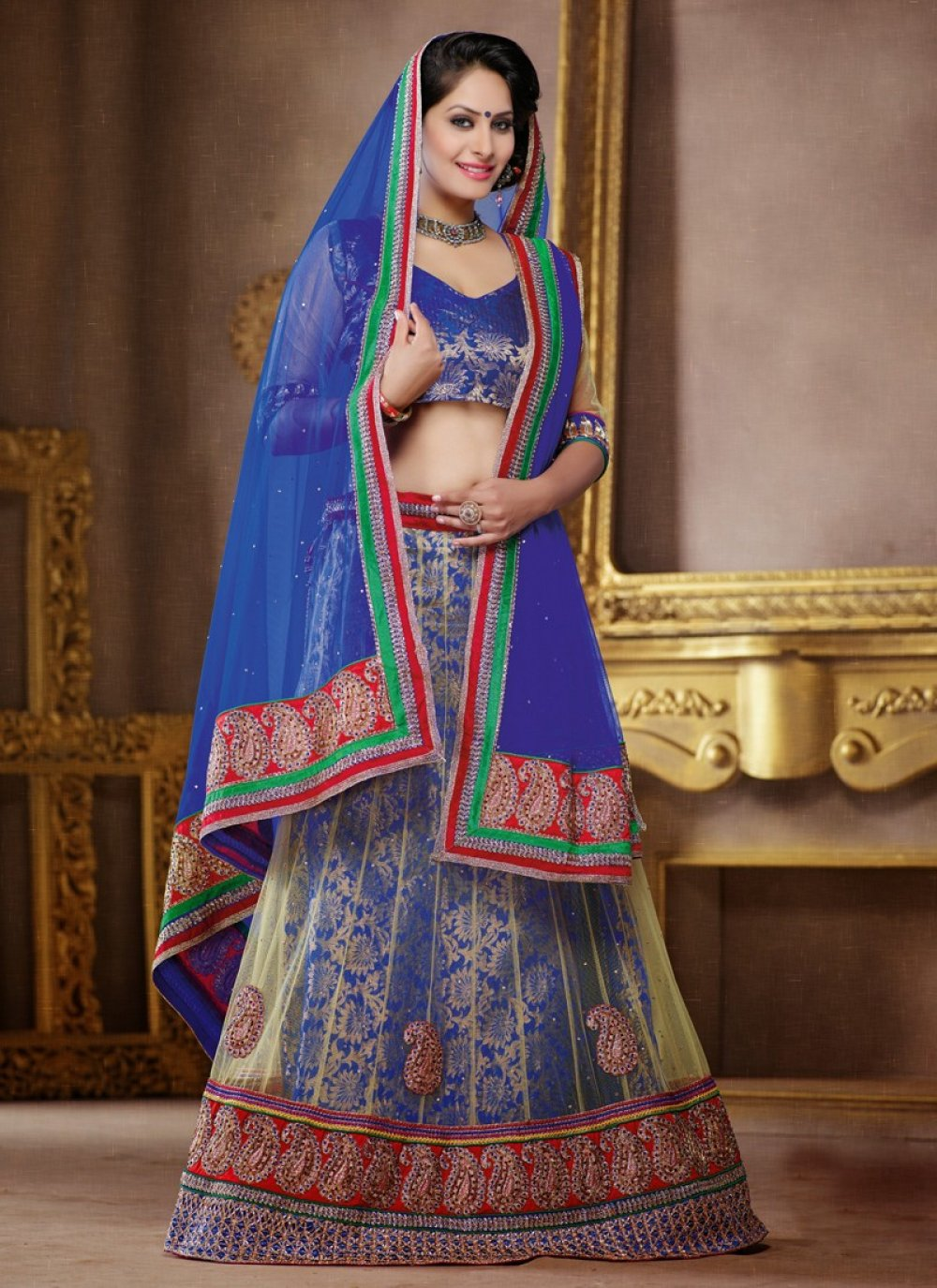 Beige And Blue Embroidery Net Lehenga Choli