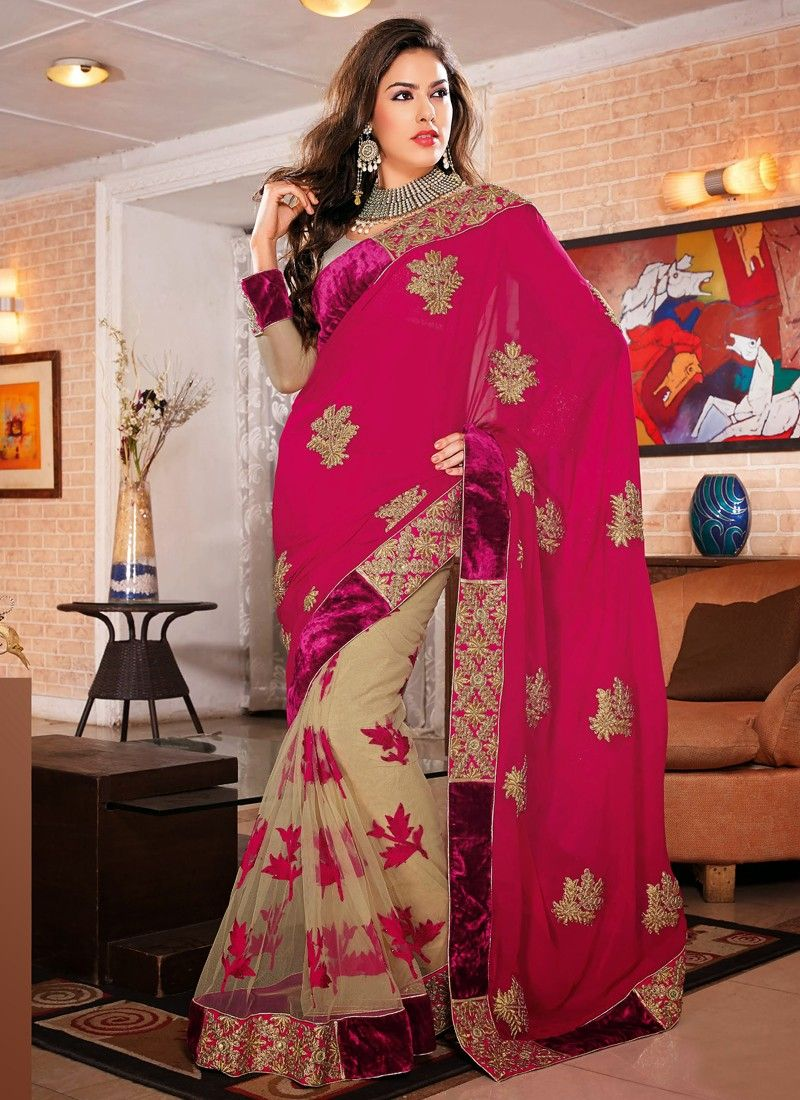Beige And Magenta Viscose Casual Saree