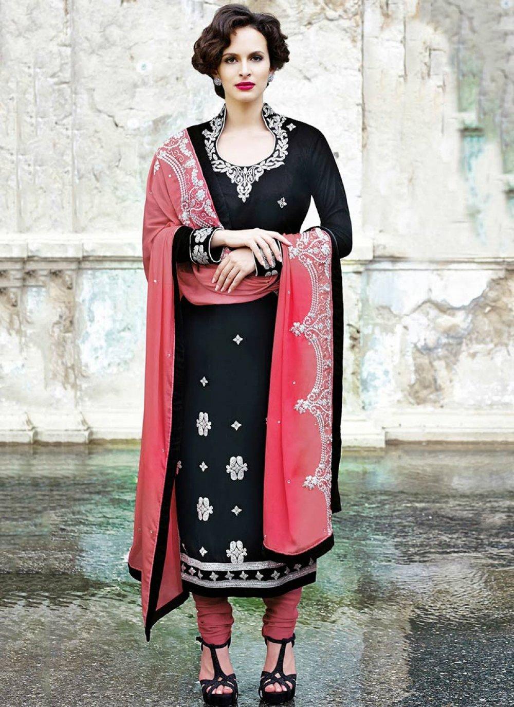 Black And Pink Crystal Embellished Churidar Suit