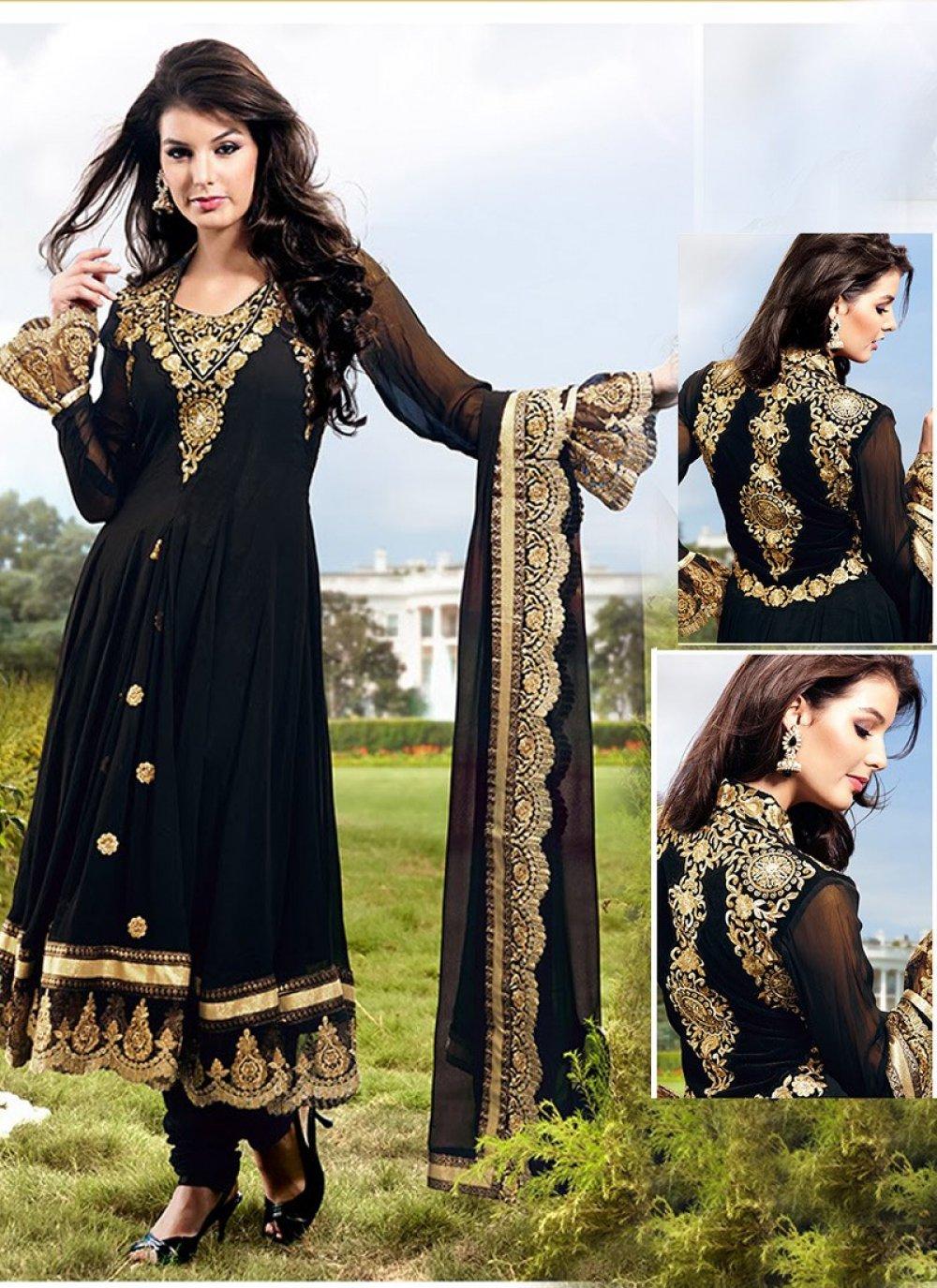 Black Color Resham Work Anarkali Suit