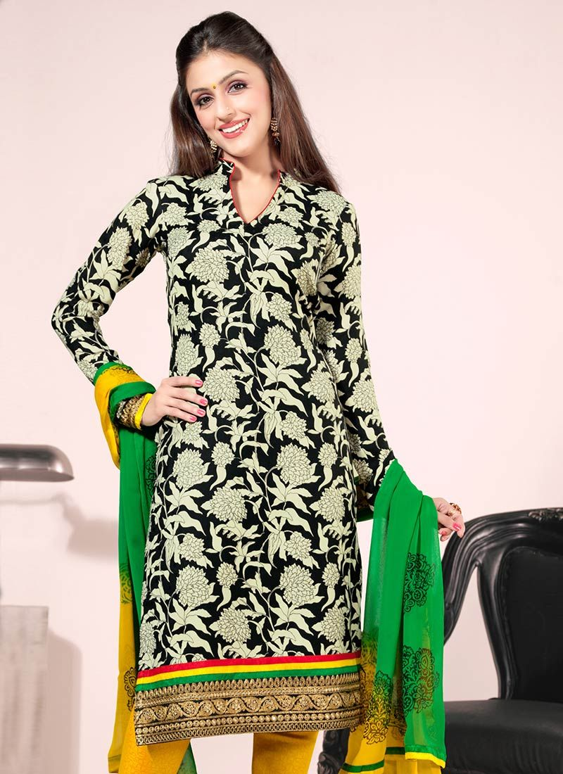 Black Creap Churidar Suit