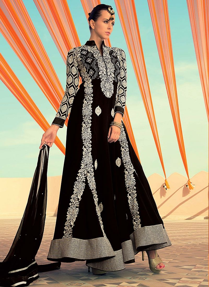 Black Cut Work Georgette Anarkali Suit