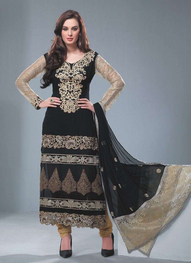 Black Faux Georgette Churidar Salwar Kameez