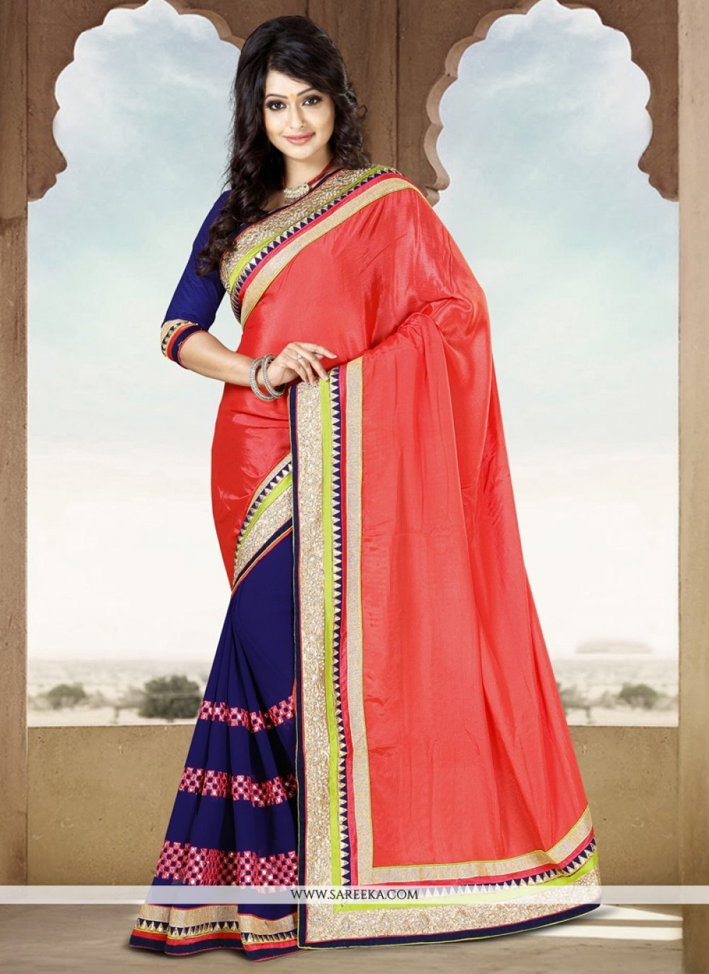 Blue And Red Chiffon Saree
