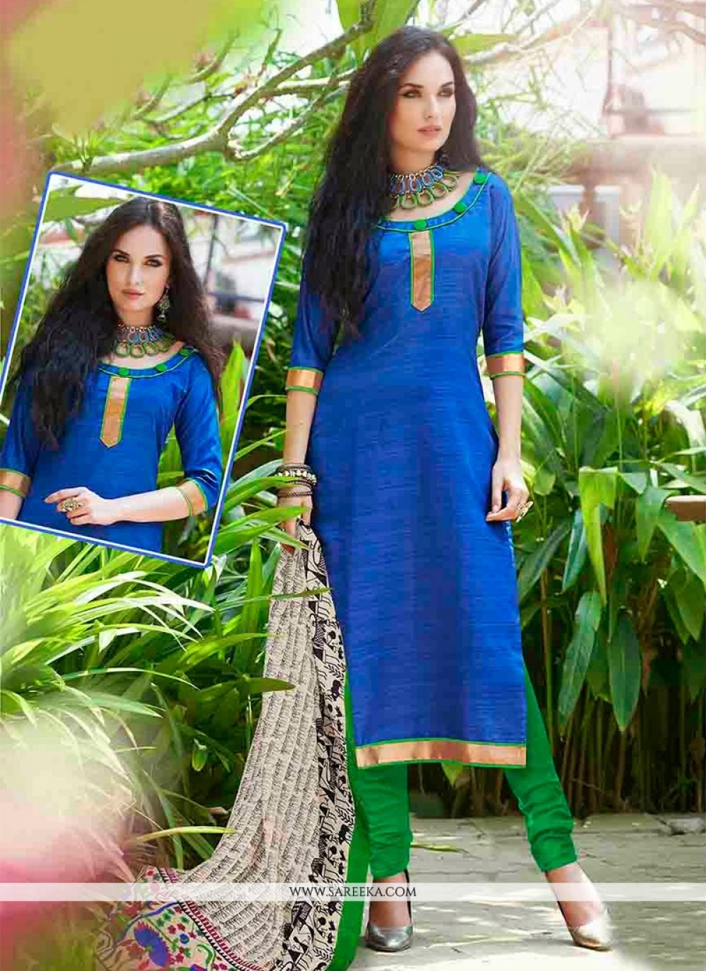 Blue Bhagalpuri Silk Churidar Suit