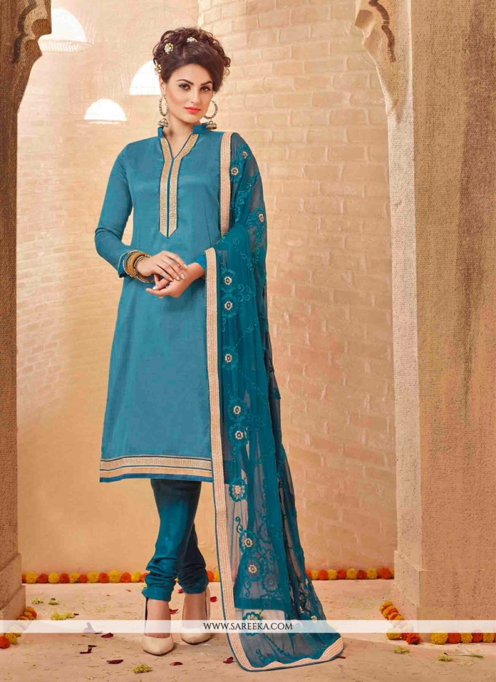 Blue Lace Work Churidar Salwar Suit